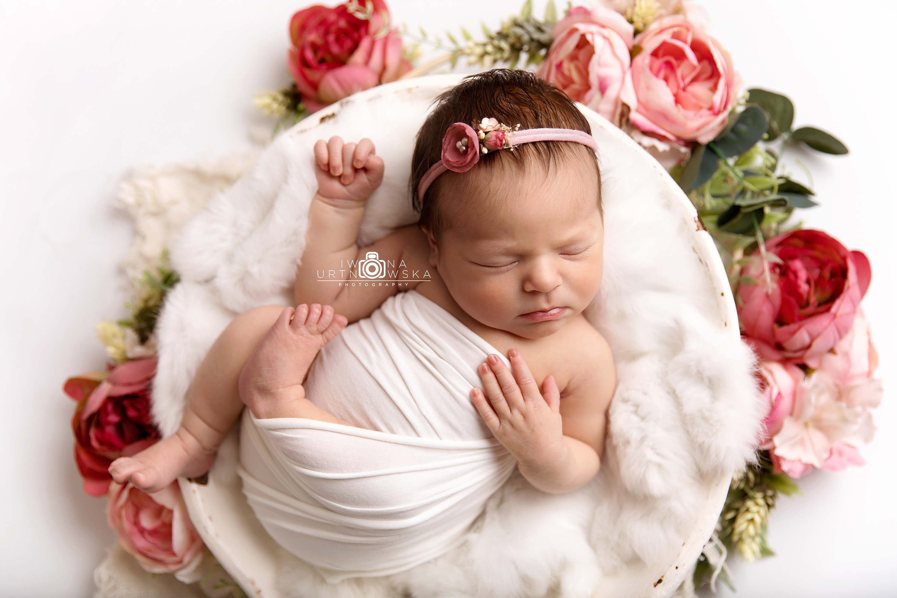 Newborn shoot floral set up