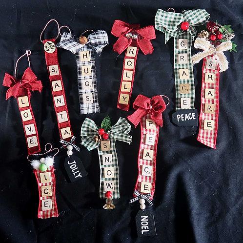 Ornament, Scrabble words on ribbon