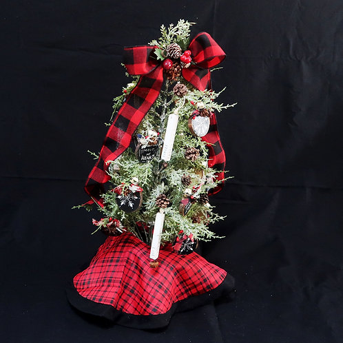 Tree with Red Plaid