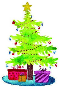 Christmas-tree-with-presents-watercolor-