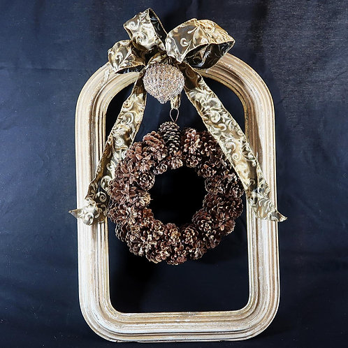 Wood Frame with Wreath, Pinecones