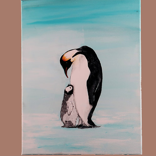 Painting, Penguins Mother & Chick