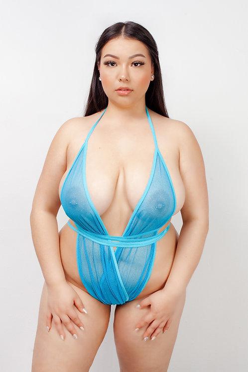 NEON BLUE SPARKLE MESH - Wrap