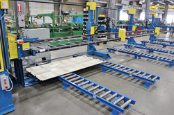 Panel Roller Drop Stacker with Floor Tamper and Side Transfer
