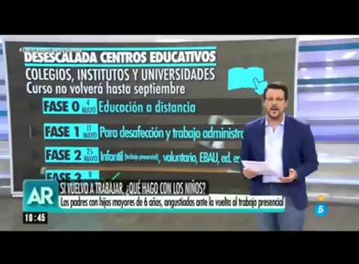 Intervención en Telecinco para hablar sobre la desescalada