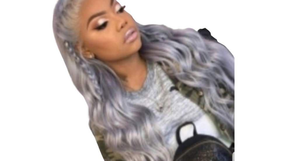 Gray Wavy Synthetic Wig