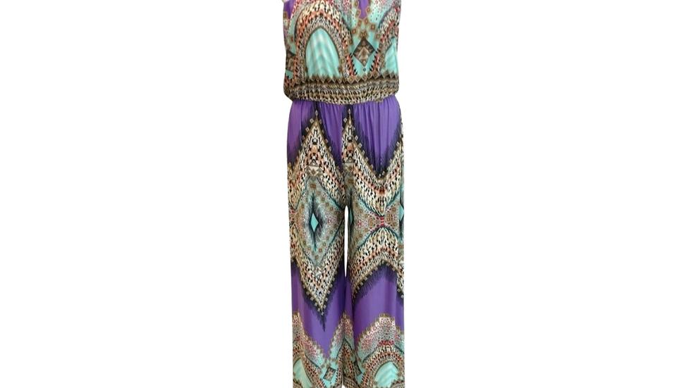 Look At Me Purple Print  Jumpsuit