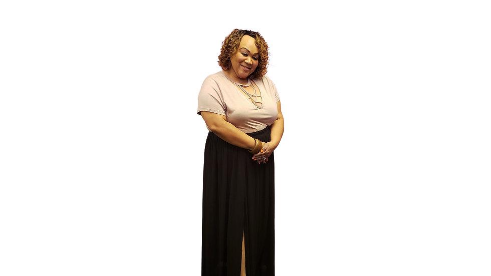 2X Have Plus Black Pleated Maxi  Skirt