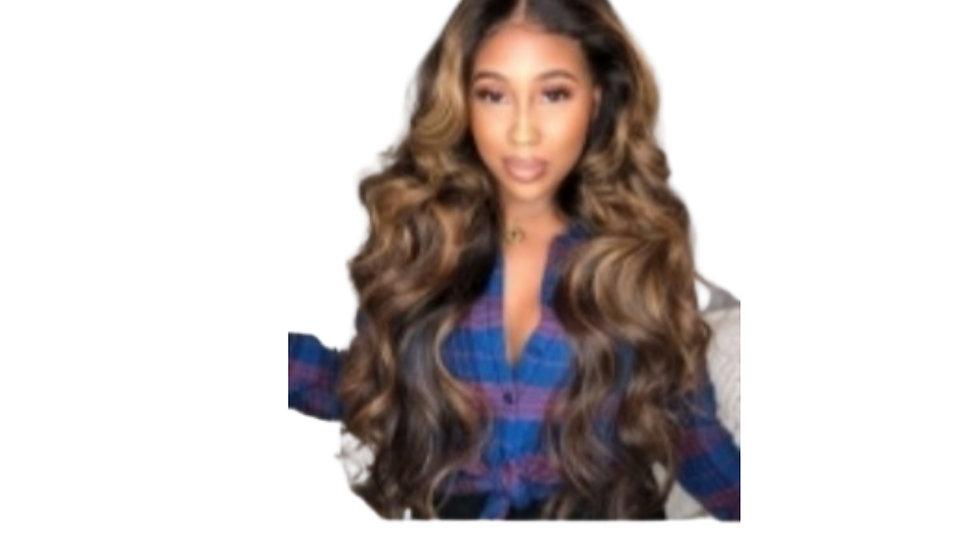 Wavy Honey Blonde & Brown Synthetic  Wig