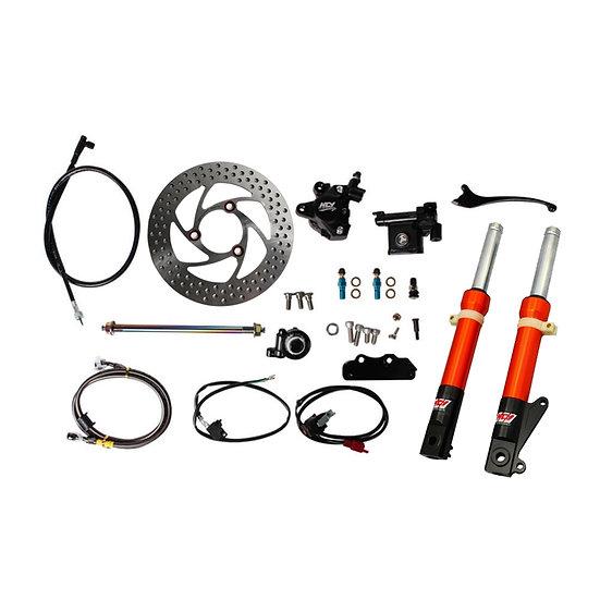 NCY Front End Kit (Orange Forks, No Rim); Honda Ruckus