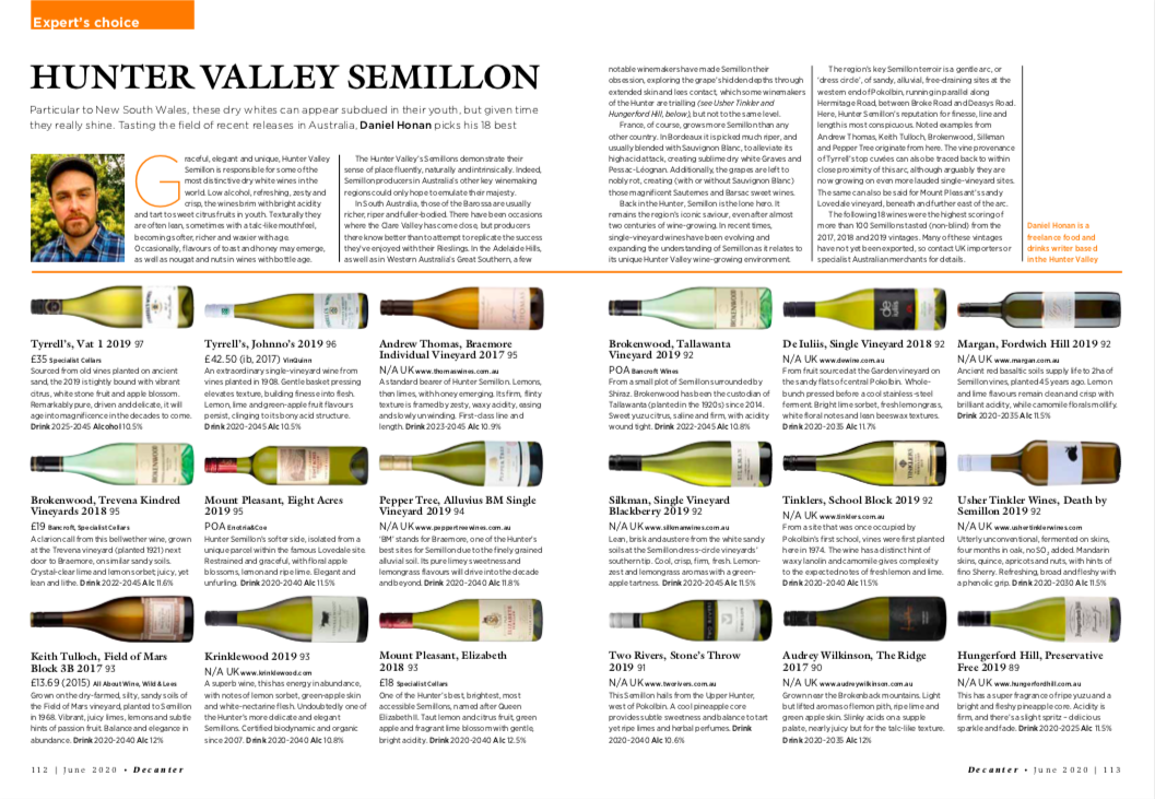 Decanter Expert's Choice: Hunter Valley Semillon
