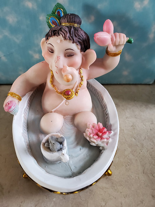 "Young Ganesh Bathing 4"""