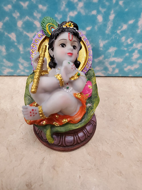 Baby Krishna on Leaf 4