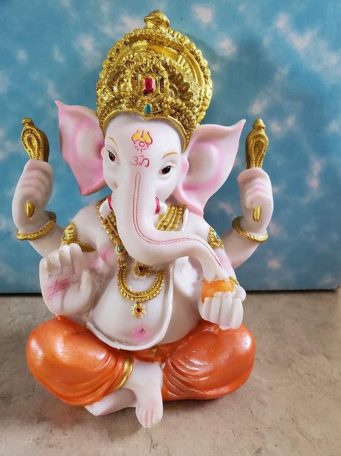 """Sitting Ganeshji 5.5"""" Orange Dhoti"""
