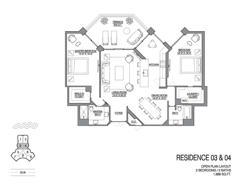 Chalfonte open floorplan unit 03 and 04.
