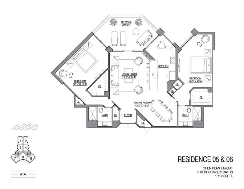 Chalfonte open floorplan unit 05 and 06.