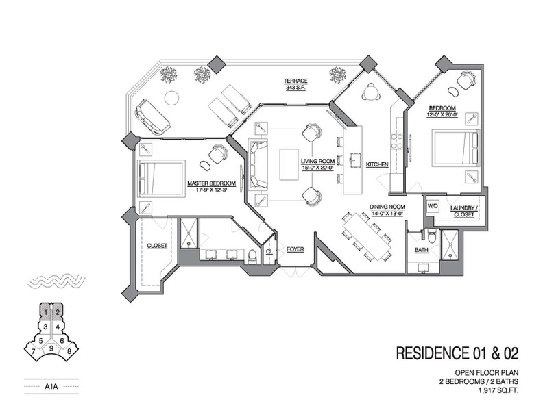 Chalfonte open floorplan unit 01 and 02.