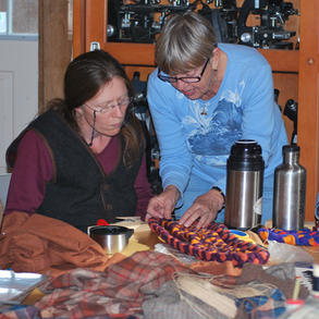 Helen Condon of Adirondack Rug Braiding has been a frequent and popular workshop leader, teaching braided rug making.
