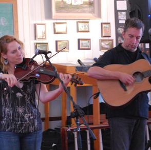 Sara Milonovich, a Mohawk Valley fiddler, performing in the Cultural Hall