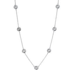Silver & Diamond Station Necklace