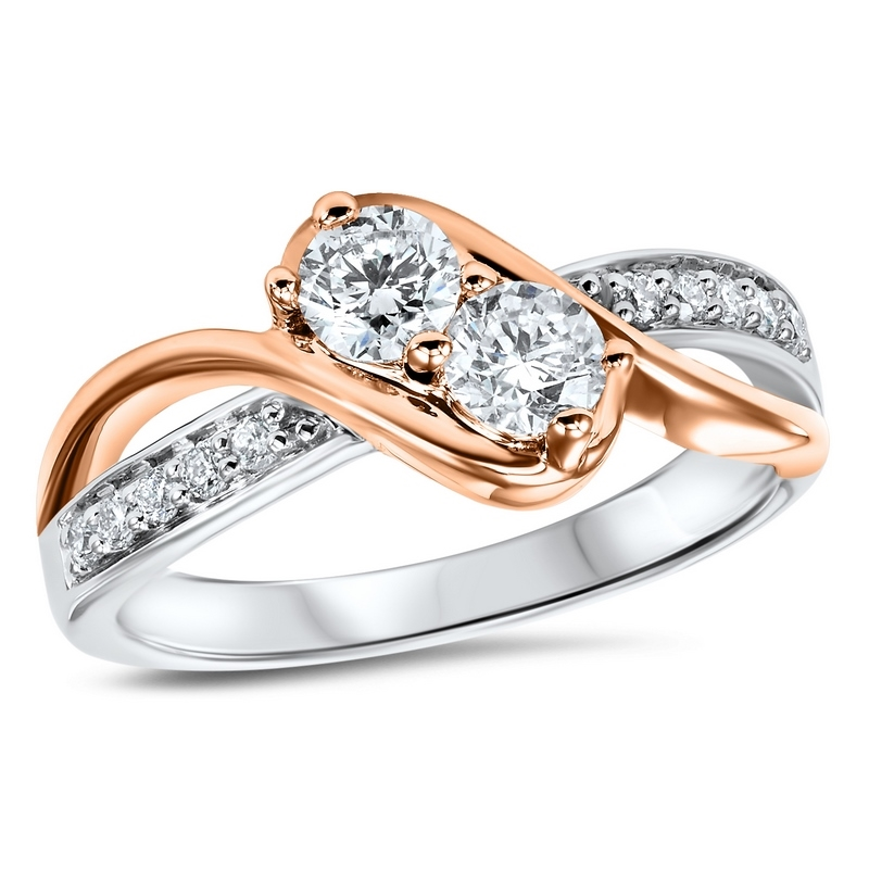 14K Rose/White Gold 2-Stone Ring