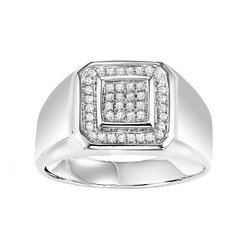 Men's Silver & 1/4 ct. Diamonnd Ring