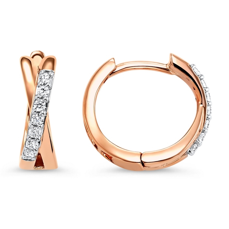 14K Rose Gold/Diamond Hoop Earrings