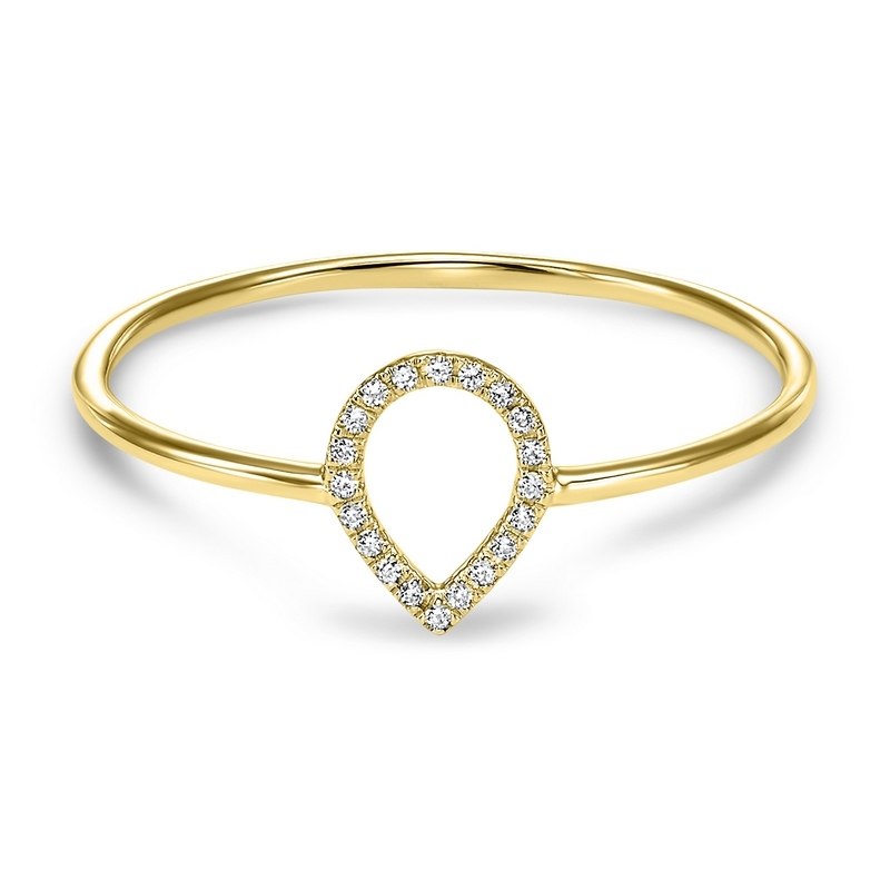 14K Yellow Gold Diamond Outline Ring