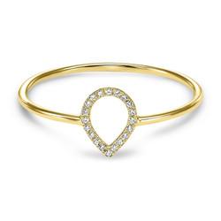 14K Yellow Gold Diamond Outline Ring