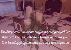 The Shepherd Hills events staff make eve