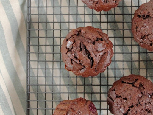 Best simple and quick chocolate muffins recipe with raspberries and blackberries