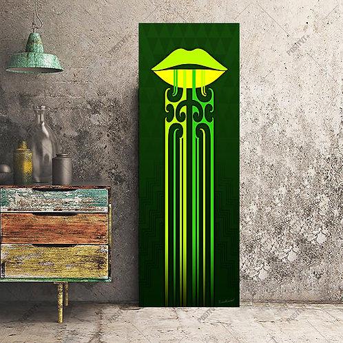 Kauae Poutama (Lime Green) - Canvas