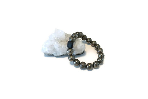 Pyrite & Black Tourmaline Single