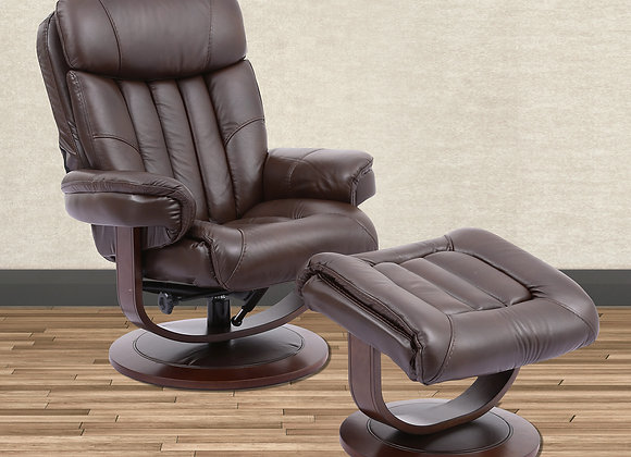 Prince Manual Swivel Reclining Chair w/ Ottoman - Robust