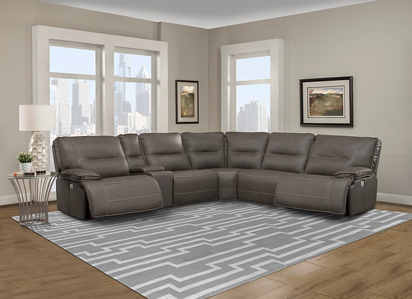 Spartacus 6PC Sectional with 3 Recliners - Haze