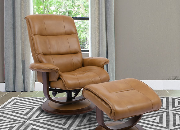 Knight Manual Swivel Reclining Chair w/ Ottoman - Butterscotch