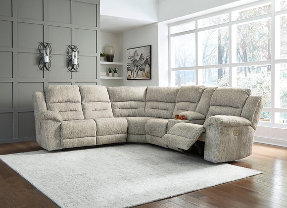 Family Den 3PC Power Reclining Sectional w/ RAF Console - Pewter