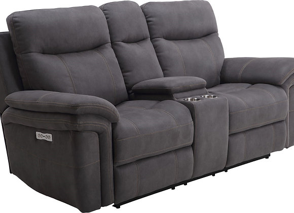 Mason Power Reclining Console Loveseat with PWR Headrest - Charcoal