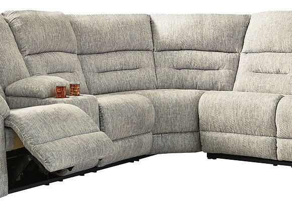 Family Den 3PC Power Reclining Sectional w/ LAF Console - Pewter