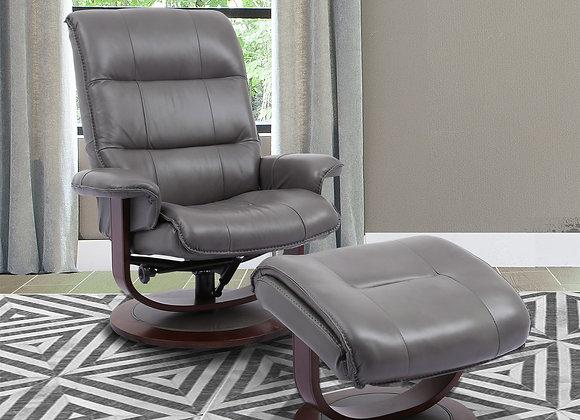 Knight Manual Swivel Reclining Chair w/ Ottoman - Ice