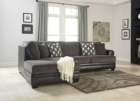 Kumasi 2PC Sofa w/ LAF Chaise - Smoke