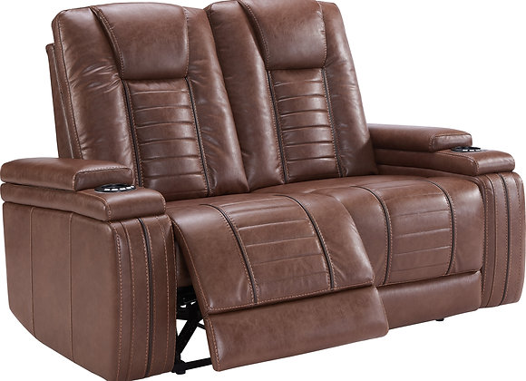 Megatron Power Reclining Console Love w/ Power HDRST - Umber