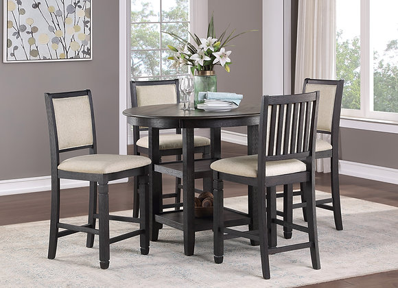 Asher 5PC Counter Dining Set - Black