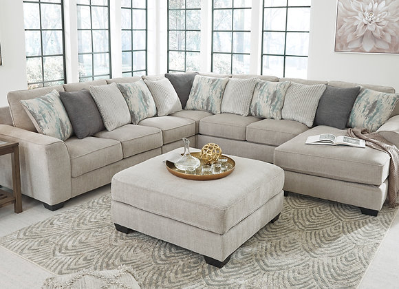 Ardsley 4PC Sectional w/ RAF Chaise - Pewter