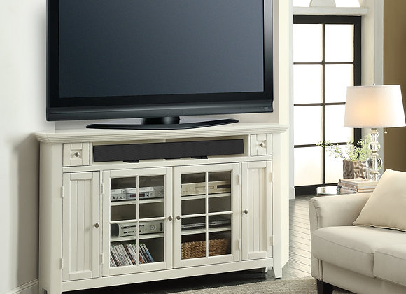 Tidewater 62 Inch CornerTALL TV Console - Vintage White
