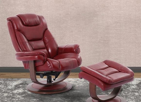 Monarch Manual Swivel Reclining Chair w/ Ottoman - Rouge