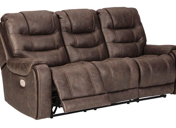 Yacolt Power Reclining Sofa w/ HDRST - Walnut