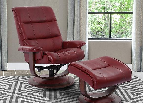Knight Manual Swivel Reclining Chair w/ Ottoman - Rouge