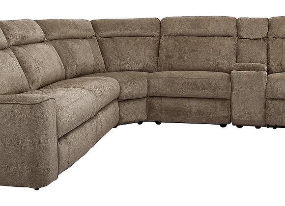 Parthenon 6PC Sectional with 3 Recliners - Heather