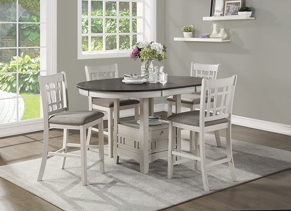 Juniper 5PC Counter Table Set - White
